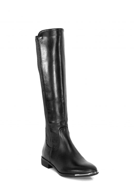 kožená a atestovaná obuv Luxusní zateplené kožené kozačky ve stylu jezdeckých bot 2100, černé CheBello