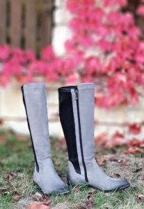 kožená a atestovaná obuv Luxusní zateplené kožené kozačky ve stylu jezdeckých bot 2100, šedo černé CheBello
