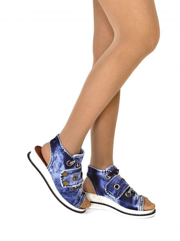 """kožená a atestovaná obuv Model pro letošní léto Jeans kotníčkové sandály """"STYL BLUEMOON"""" 9432 Starbluemoon"""