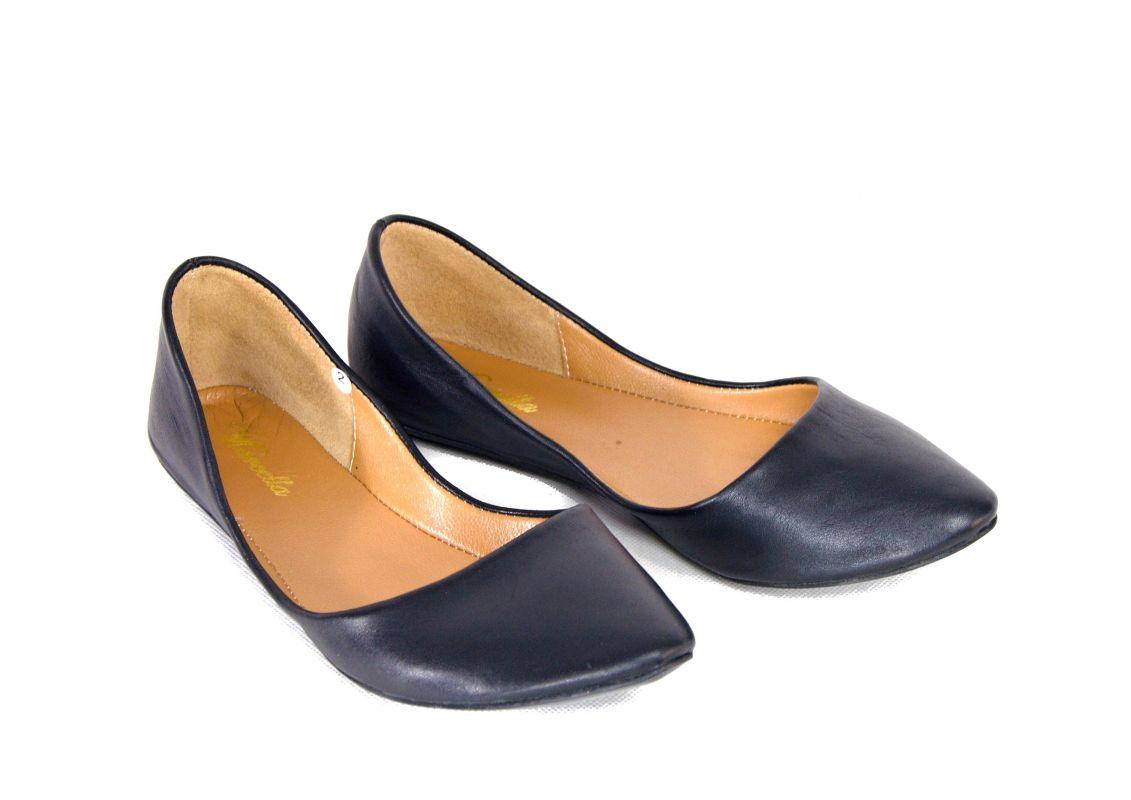 "kožená a atestovaná obuv Módní tvarované baleríny ""Marcella"" 10, černé a bílé"