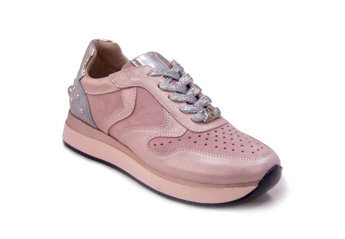 """kožená a atestovaná obuv Originální džínové tenisky """"Alpino"""" 19YA-150 s přidáním malého klínku, pudrové"""