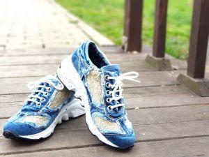"""kožená a atestovaná obuv Originální džínové tenisky """"StarBluemoon"""" 819 na platformě, světle modré"""