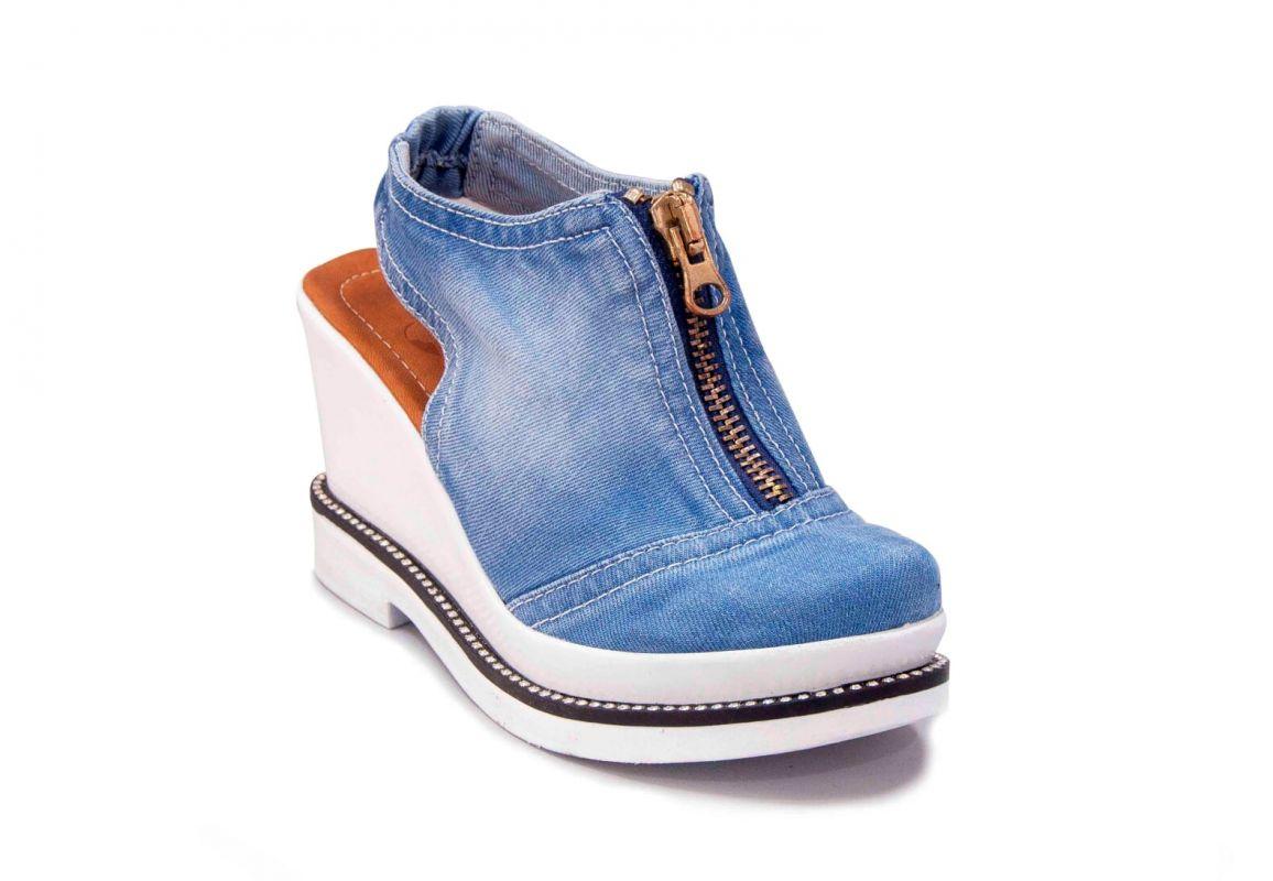 kožená a atestovaná obuv Riflové sandálky 924 na klínu a platformě Starbluemoon