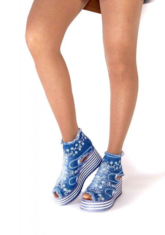 """kožená a atestovaná obuv Originální kotníčkové """"jeans"""" boty na výrazné platformě 3001, s výšivkou Starbluemoon"""