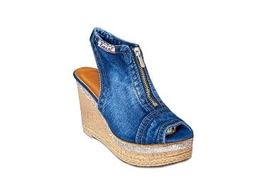 kožená a atestovaná obuv Riflové módní sandálky 15-12-17 na klínu Emani