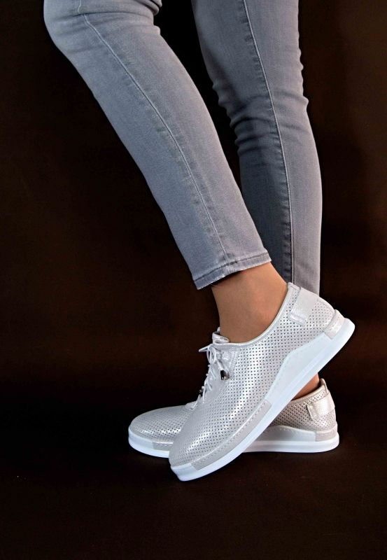 "kožená a atestovaná obuv Sportovní mokasíny ""Emani"" s perforací 914, béžovo bílá Donna Style"