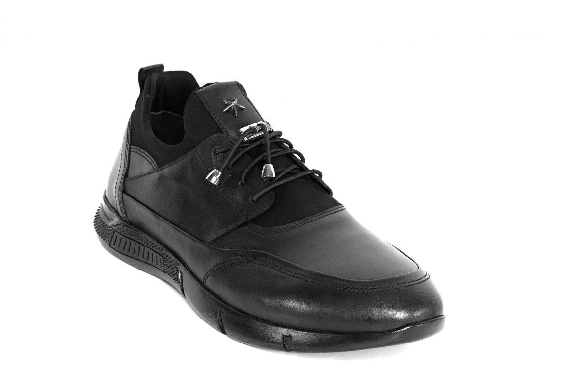 kožená a atestovaná obuv Kožené pánské sportovní boty 9026, černé Gattuso