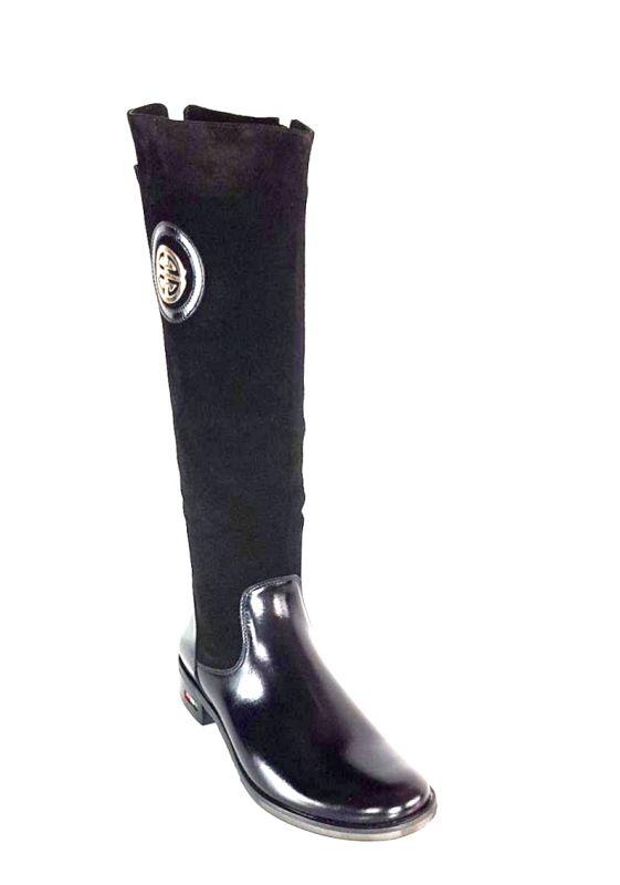 kožená a atestovaná obuv Zimní kozačky 0-11 s dvojkombinací zipu v černé barvě Exquisite