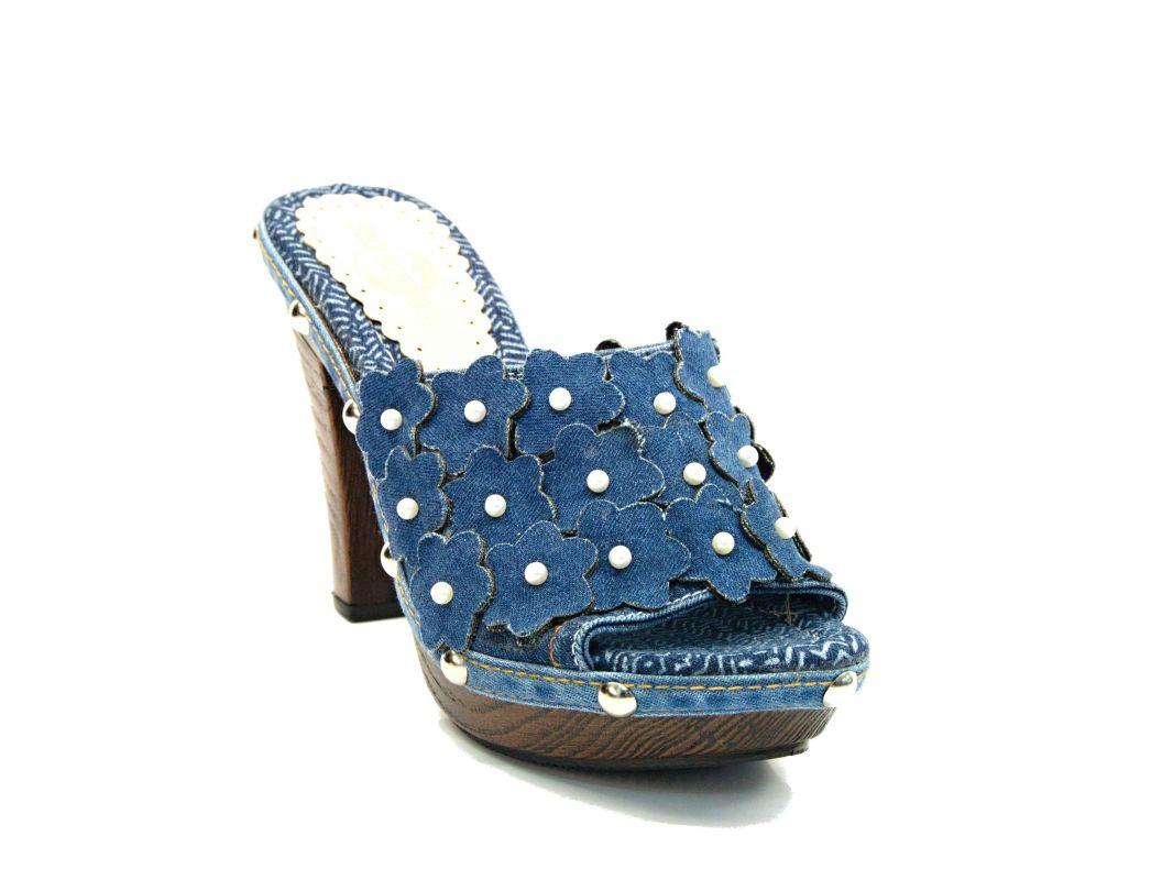 """kožená a atestovaná obuv Džínové luxusní nazouváky """"Star BlueMoon"""" na podpatku 946 Starbluemoon"""