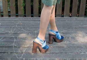 """kožená a atestovaná obuv Luxusní kotníkové sandály z džínoviny na platformě a soklovým podpatkem """"336"""" Starbluemoon"""