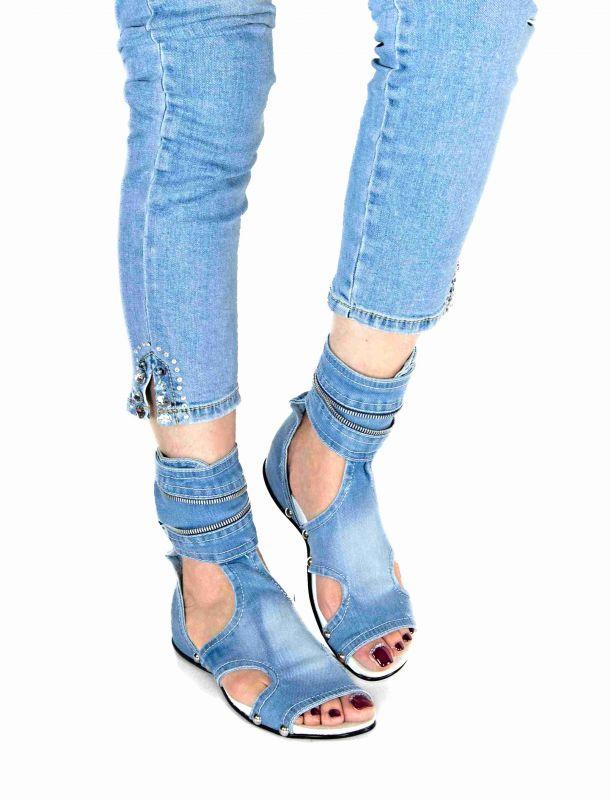 kožená a atestovaná obuv Riflové koníkové sandálky SANDRA s otevřenou špičkou - 38 StarBluemoon