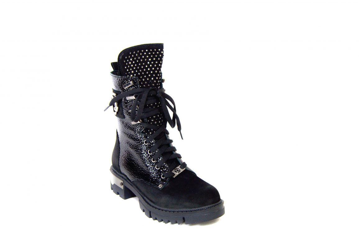 """kožená a atestovaná obuv Černé luxusní zimní kotníčkové boty, zdobené """"4008"""" Dessy"""