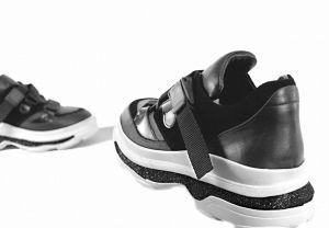 """kožená a atestovaná obuv Dámské stylové kožené tenisky """"Marcella 19.1000.1"""" na platformě, černé"""