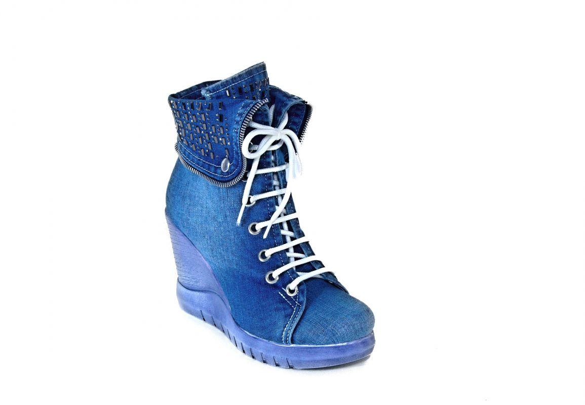 """kožená a atestovaná obuv Kotníčkové boty z džínoviny na klínku """"StarBlueMoon"""" 5067"""