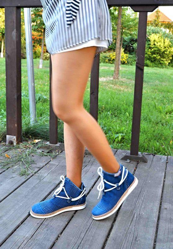 """kožená a atestovaná obuv Kotníkové luxusní boty -Jeans """"EMANI"""" 119-09-73 s dekorativní šňůrou"""