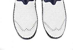 kožená a atestovaná obuv Luxusní pánské mokasíny 41122, bílo modré s perforací Thunderhead