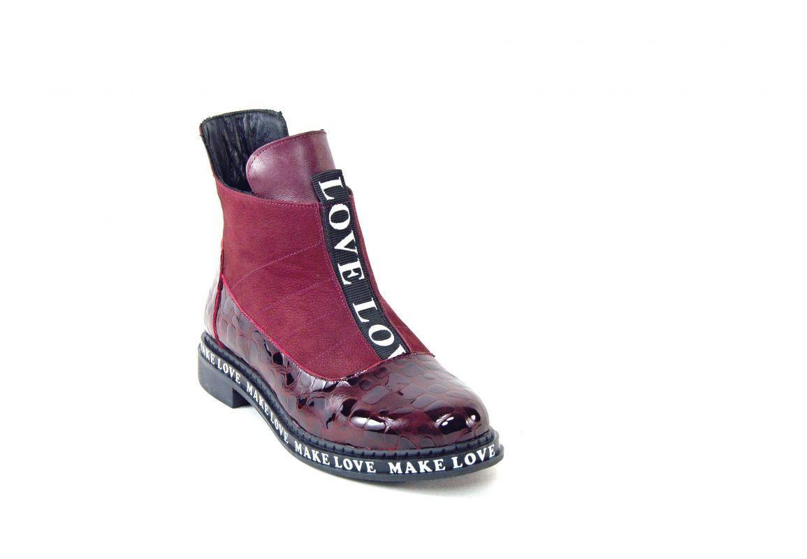 """kožená a atestovaná obuv Luxusní vínové kožené kotníčkové boty """"Emani 546"""""""