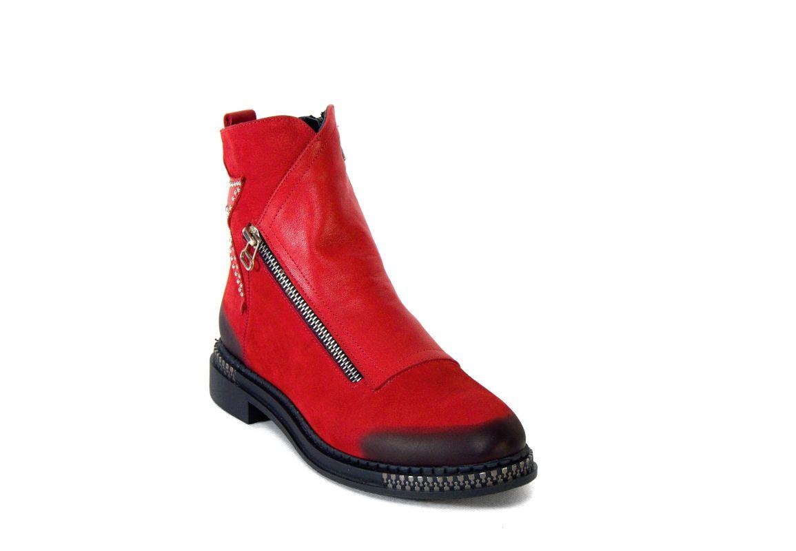 """kožená a atestovaná obuv Luxusní červené kotníčkové boty zimní """"Marcella"""" 2005,"""