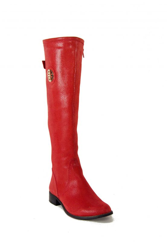 kožená a atestovaná obuv Nepromokavé kozačky 0-11 s dvojkombinací zipu v červené barvě Roberto