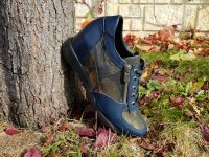 kožená a atestovaná obuv Módní dámské tenisky na klínku 051, modré Alpino