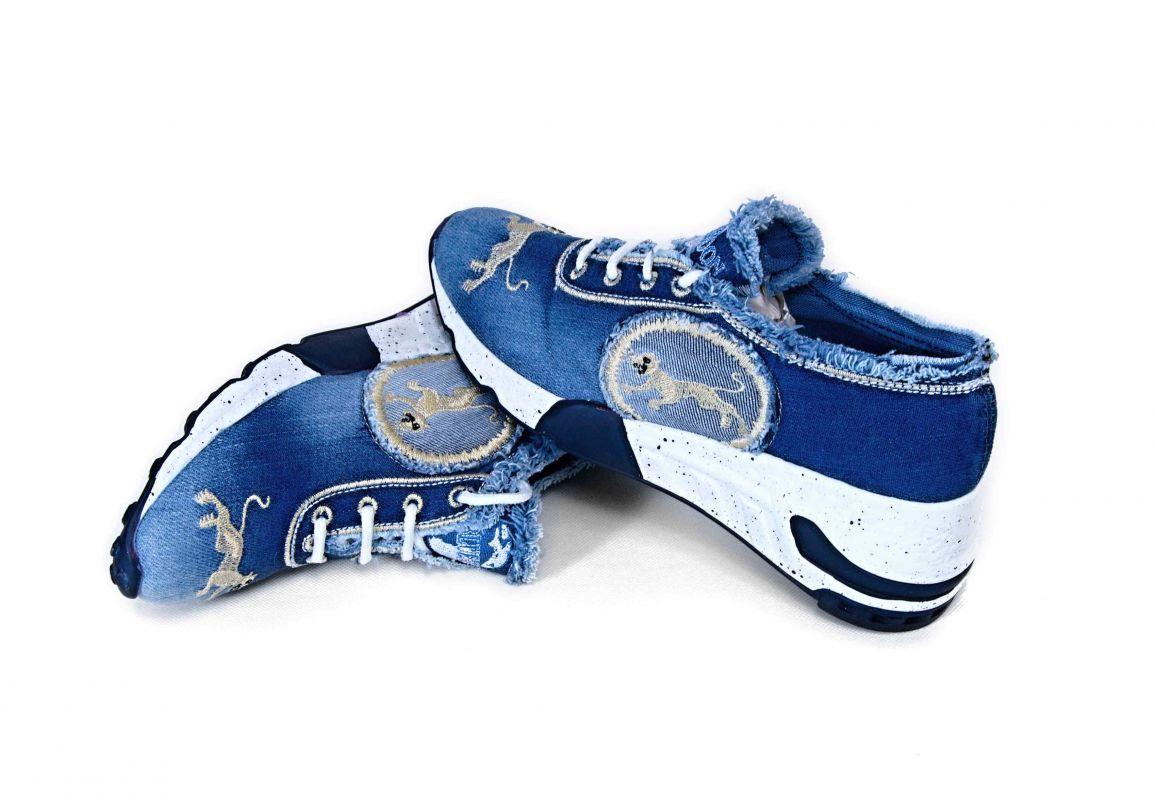 """kožená a atestovaná obuv Originální džínové tenisky """"StarBluemoon"""" 1031 na platformě, světle modré"""