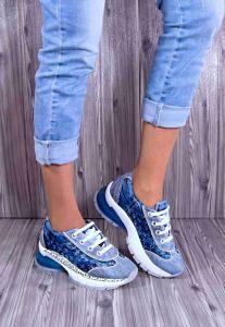 """Originální Jeans tenisky """"STAR BLUEMOON"""" s bílou nápaditou podrážkou 7046"""