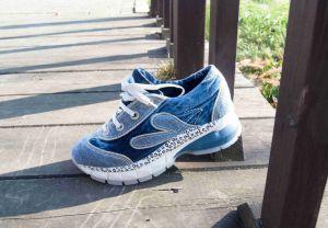 """Originální Jeans tenisky """"STAR BLUEMOON"""" s bílou nápaditou podrážkou 830"""