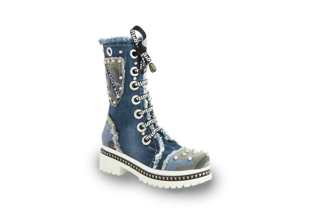kožená a atestovaná obuv Originální nízké džínové kozačky 7018-22 na šněrování i zip Starbluemoon