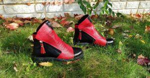 """kožená a atestovaná obuv Originální zimní kotníčkové boty """"Emani"""" 022, červenočerné"""