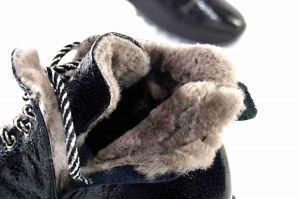 """kožená a atestovaná obuv Originální zimní kotníčkové boty """"Mammamia"""" K19-104, černé"""