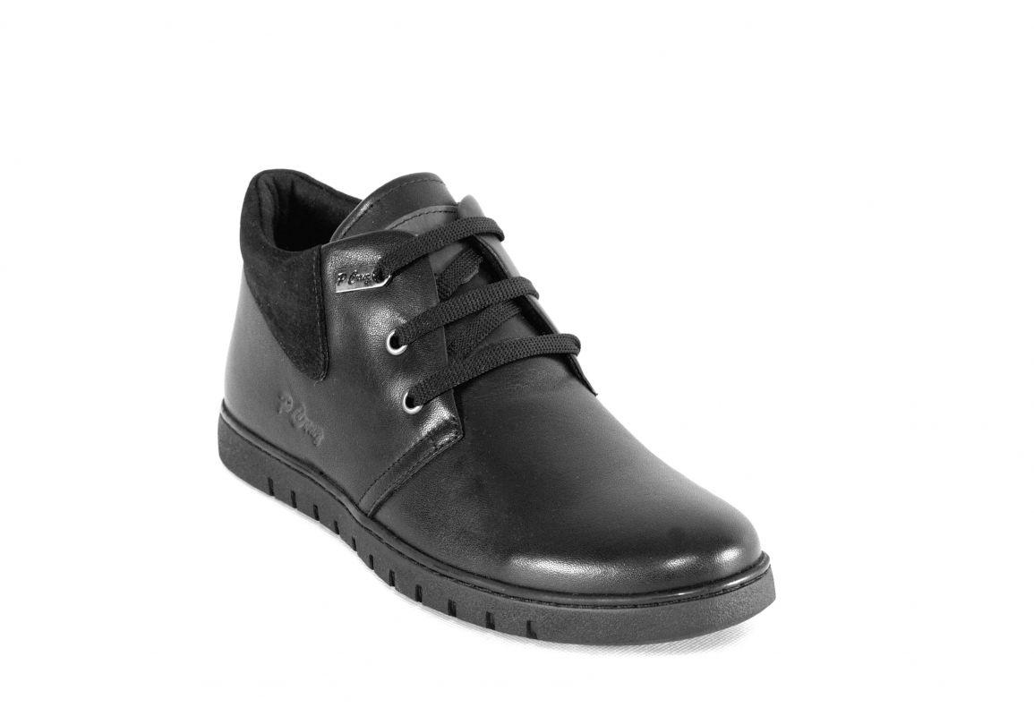 "kožená a atestovaná obuv Pánské kotníčkové boty ""P Crug "", černé Paulcruz"
