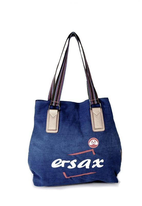 """kožená a atestovaná obuv Prostorná džínová taška """"ERSAX"""" s barevnými popruhy"""
