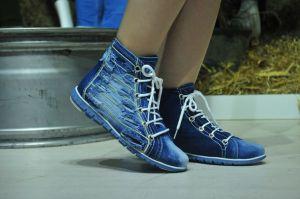 kožená a atestovaná obuv Riflové kotníkové botky 053 na šněrování Starbluemoon