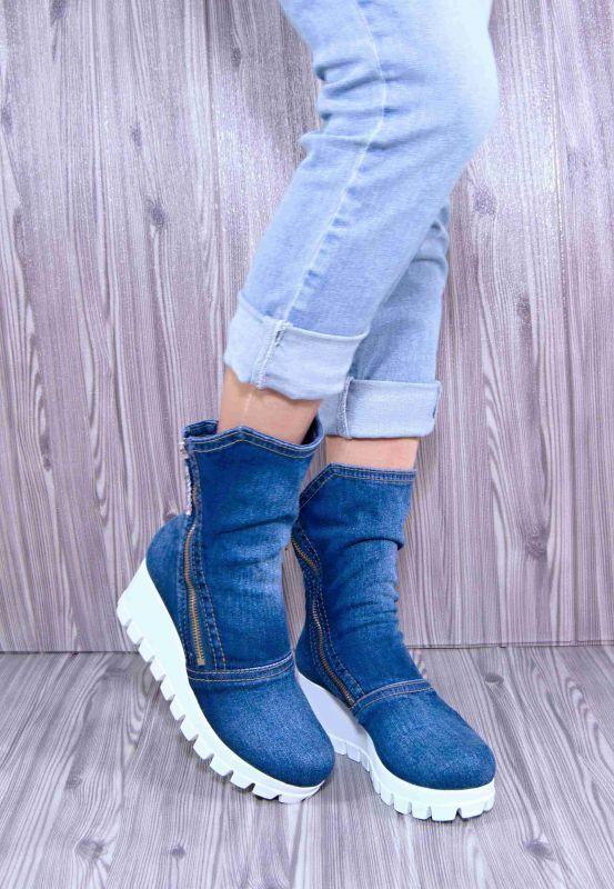 kožená a atestovaná obuv Riflové kotníkové kozačky 7211 na bílé platformě Emani
