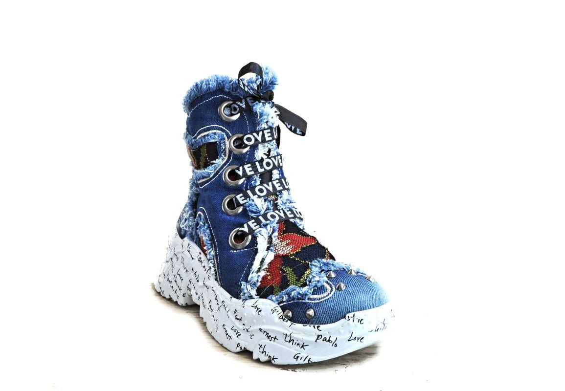 kožená a atestovaná obuv Riflové kotníkové Sneakersi Starbluemoon