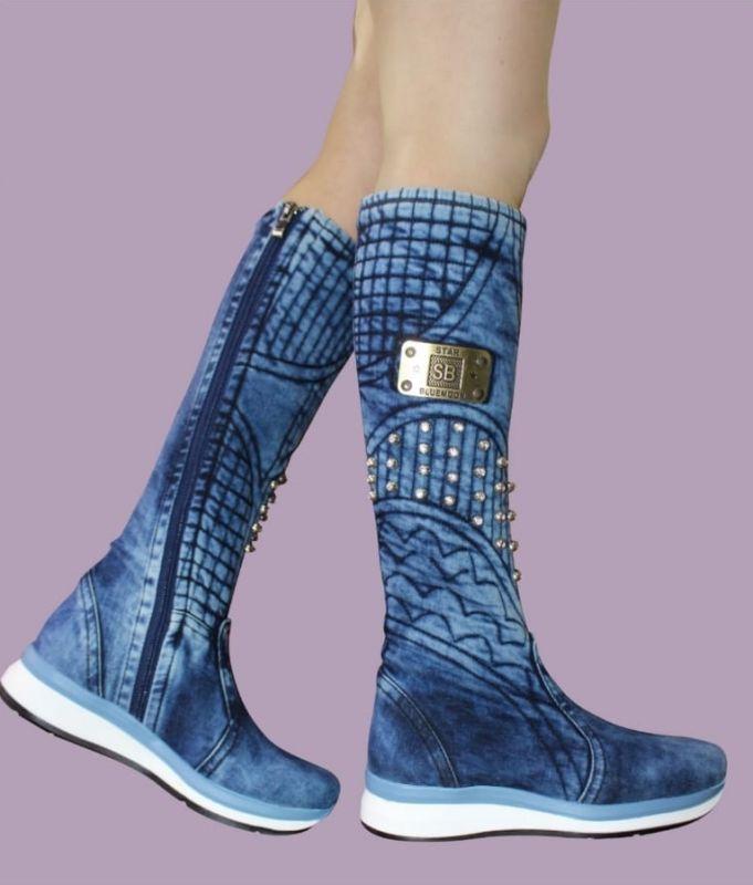 """kožená a atestovaná obuv Luxusní zimní """"Jeans"""" kozačky 5028-T, na malém klínku EMBRO Starbluemoon"""
