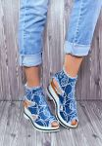 """Riflové módní sandálky """"1119"""" na klínu"""