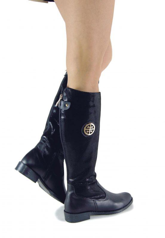 kožená a atestovaná obuv Zimní kozačky 0-11B s dvojkombinací zipu v černé lakované barvě s hadím vzorem Exquisite