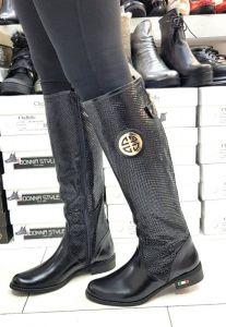 kožená a atestovaná obuv Zimní luxusní kozačky s perforací KZ - 91 černé Roberto