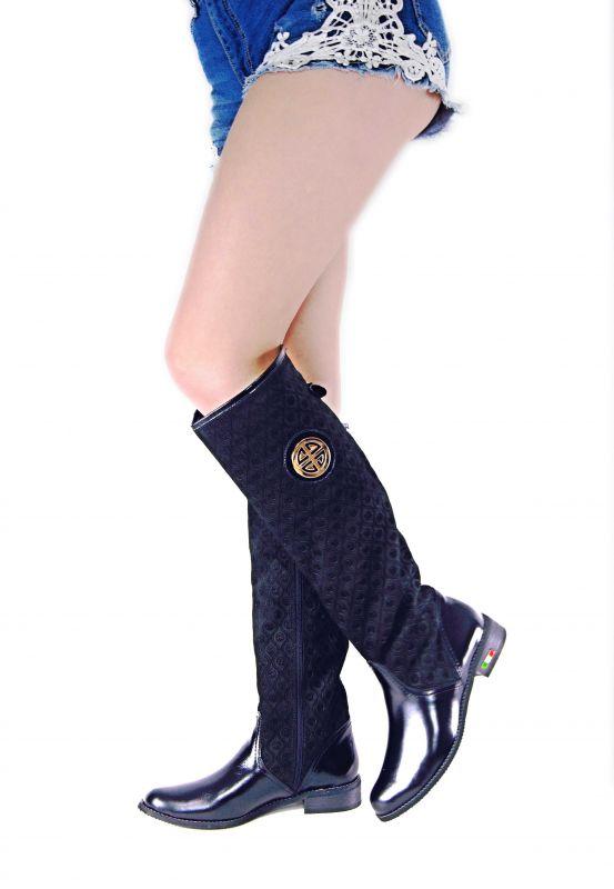 kožená a atestovaná obuv Zimní luxusní kozačky s perforací Z-91 černé Roberto