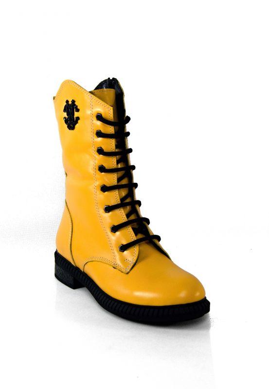 """kožená a atestovaná obuv Žluté luxusní vyšší kotníčkové boty zimní """"Marcella"""" U-21"""