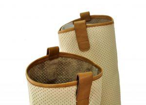 kožená a atestovaná obuv Kožené kozačky s perforací D.1100, béžové Bueno