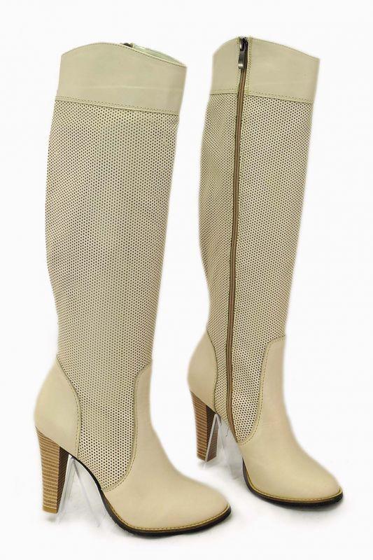 """kožená a atestovaná obuv Prodyšné kozačky s perforací ,,dírkování ○ """" na podpatku, slonovitá barva Inbust"""