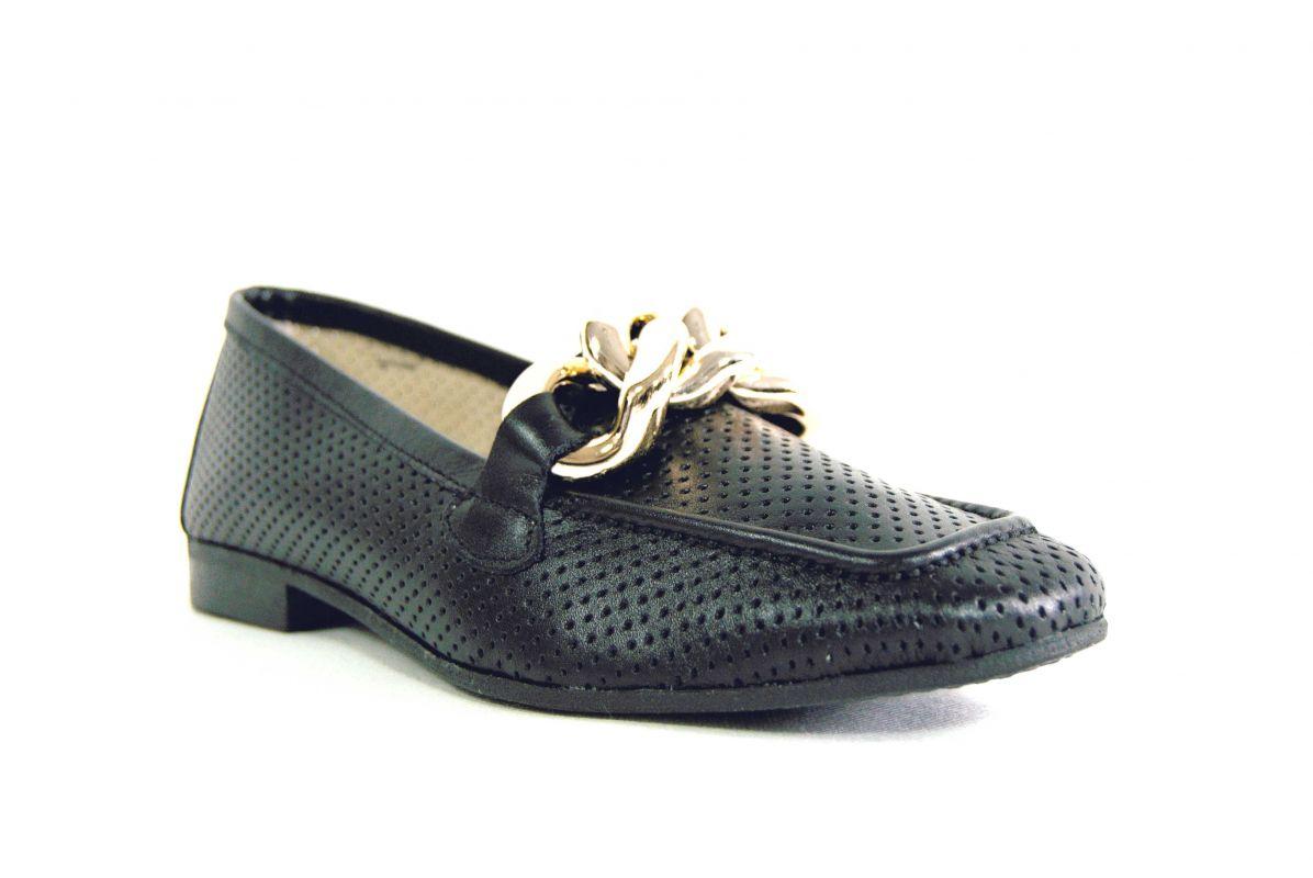 """kožená a atestovaná obuv Černé luxusní dámské polobotky """"MarcellaShoes"""" 99, s perforací"""
