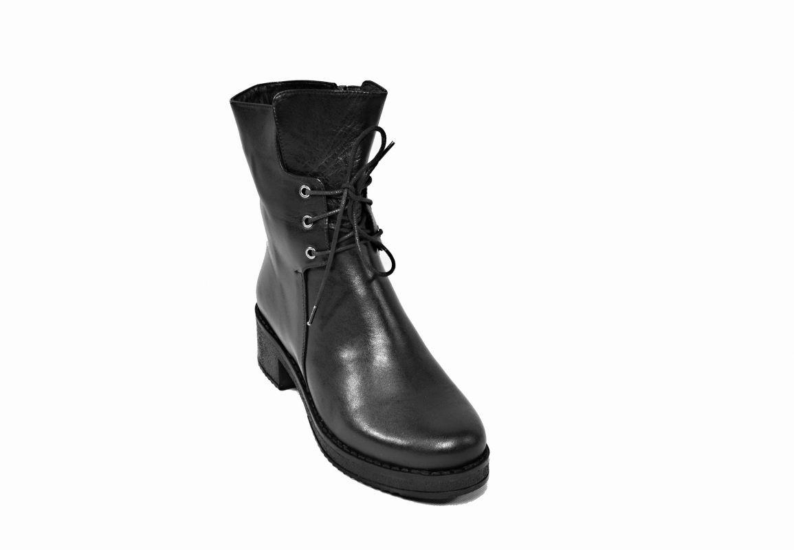 """kožená a atestovaná obuv Černé kožené kotníčkové boty CRUX """"096"""""""