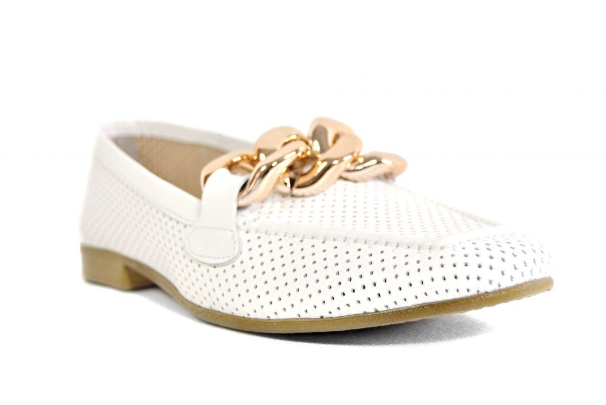 """kožená a atestovaná obuv Bílé luxusní dámské polobotky """"MarcellaShoes"""" 99, s perforací"""