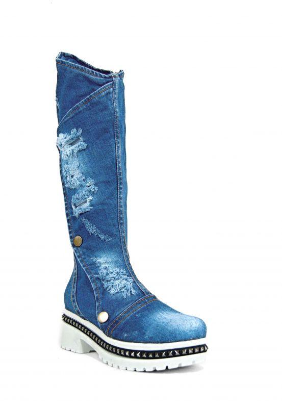 "kožená a atestovaná obuv Dámské originální džínové kozačky na platformě ""STAR BLUEMOON"" 7036 Starbluemoon"