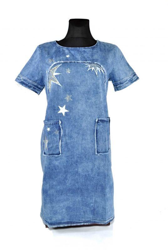 "kožená a atestovaná obuv Džínové šaty s krátkým rukávem ""2GG"" Starbluemoon"