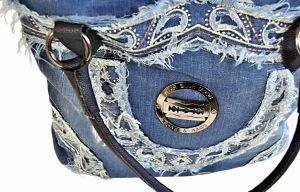 """kožená a atestovaná obuv Kabelka Jeans 2108 šití ,, rifle """" s delším uchem modrý Facebag"""