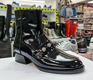 """kožená a atestovaná obuv Lakované kožené kotníčkové boty """"EAC"""", 2744-X-19, černé By Can Shoes"""